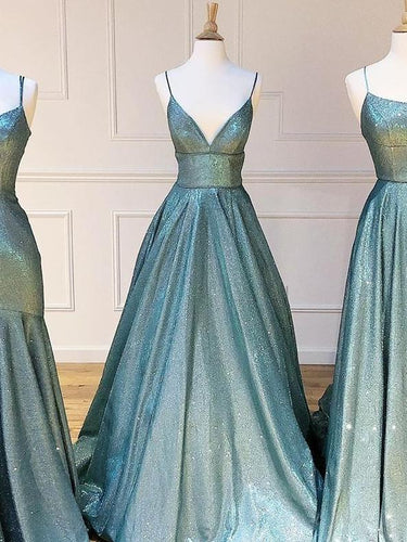 A-line Spaghetti Straps Long Prom Dresses Sparkly Evening Gowns JKM3004|Annapromdress