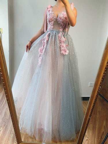 A-line V neck Beaded Pink Long Prom Dresses With Floral Beautiful Evening Gowns JKM3003|annapromdress