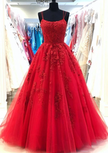 Red Spaghetti Straps Tulle Lace Appliques Modest Evening Dress Long Prom Dress JKN4102|Annapromdress