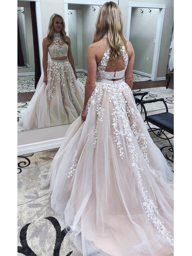 White Lace Appliqued Two Piece Prom Dresses,Aline 2 Piece Prom Dress