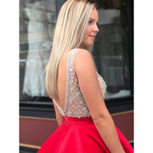 Sexy Deep V neck Satin Beaded Homecoming Dress Open Back Red Short Prom Dress YDK1220|annaprom