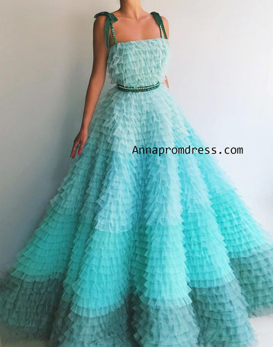 Ball Gown Spaghetti Straps Gradient Tulle Long Prom Dress Ruffles Chic Prom/Evening Gowns YSD334|Annapromdress