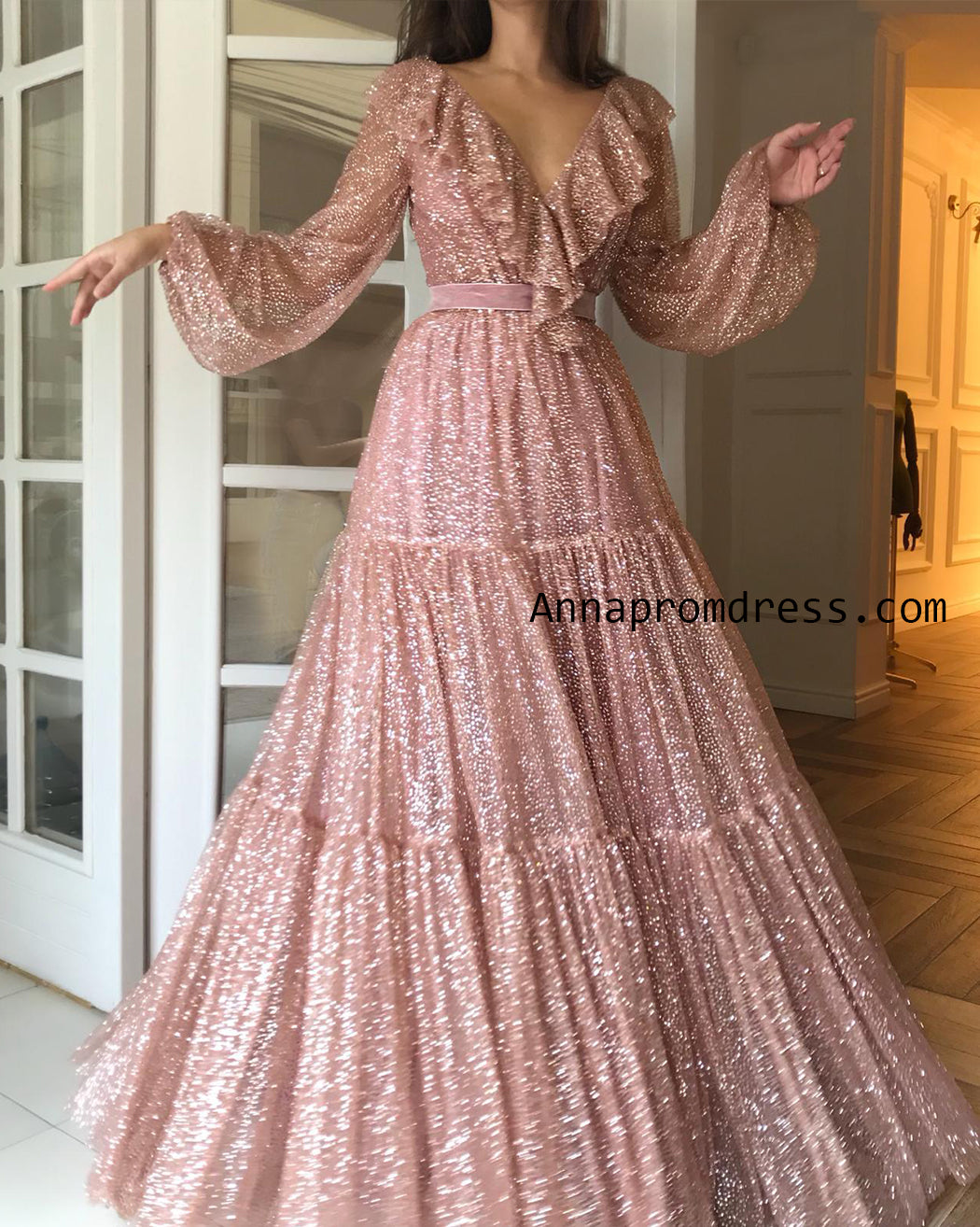 Sparkly Prom Dresses Long Sexy V Neck Long Sleeve Rose Gold Unique Prom/Evening Dress YSD336|Annapromdress