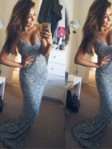 Sparkly Long Prom Dress with Straps Sexy Sheath Backless Evening Party Dress YSF693|Annapromdress
