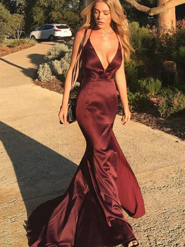 Sexy Deep V Neck Burgundy Prom Dress Mermaid Spaghetti Straps Cross Back Long Evening Dress YSF695|Annapromdress