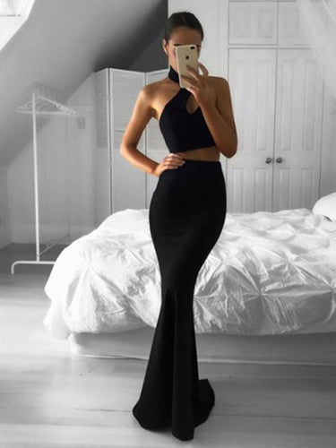 Two Piece Prom Dress Long Black Halter Sexy Sweep/Brush Train Prom/Evening Dress YSF696|Annapromdress