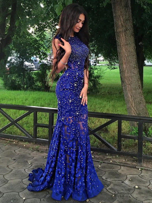 Royal Blue Lace Beadings Prom Dress Mermaid Sexy Backless Long Prom/Evening Dress YSF698|Annapromdress