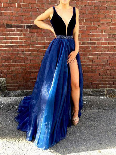 A Line Long Prom Dress with Straps Sexy Slit Deep V-neck Prom/Evening Dress YSF714|Annapromdress