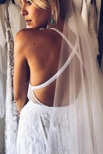 Sexy Spaghetti Straps V Neck Boho Lace Wedding Dress with Silt Rustic Wedding Dress Cross Back YSG6904|annapromdress