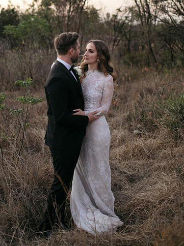 High Neck Long Sleeve Lace Wedding Dress Train 2019 Rustic Wedding Dress Mermaid Bridal Gown YSG6905|annapromdress
