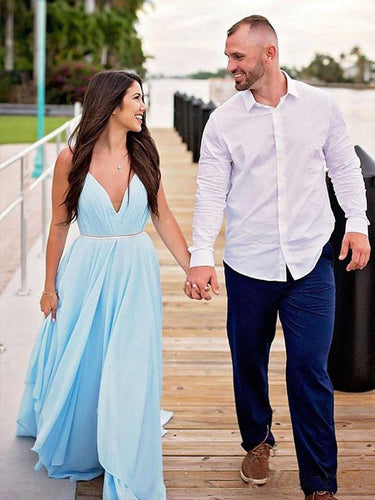 Sky Blue Chiffon Wedding Dress Spaghetti Straps V-neck Unique Beach Wedding Dress Backless YSG6906|annapromdress
