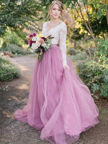 Long Sleeves Lace Top Wedding Dress Colorful Vintage Wedding Dresses for Birdal YSG6907|annapromdress