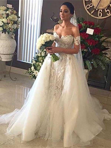 Princess Wedding Dress Off-the-shoulder Detachable Train Lace Bridal Gown YSJ1972|Annapromdress