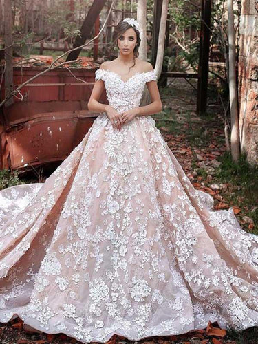 Luxury Wedding Dress Flowy V-neck Cap Sleeves Long Train Lace Birdal Gown YSJ1973|Annapromdress