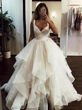 Ball Gown Wedding Dress with Straps Sexy Backless V Neck Tulle Bridal Gown 2019 YSJ1980|annapromdress