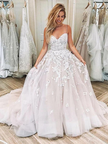 Ball Gown Wedding Dress 2019 Spaghetti Straps Appliques Princess Wedding Dress Bridal Gown YSJ1982|annapromdress