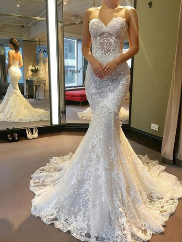 Ivory Lace Mermaid Wedding Dress 2019 Sweetheart Princess Wedding Dress Bridal Gown YSJ1985|annapromdress