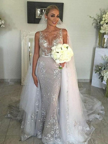 See Though Lace Wedding Dress Unique Detachable Train Mermaid Wedding Dress Bridal Gown YSJ1987|Annapromdress