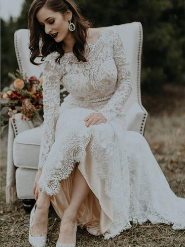 Long Sleeves Vintage Wedding Dress Backless Rustic Lace Wedding Dress YSJ1990|annapromdress