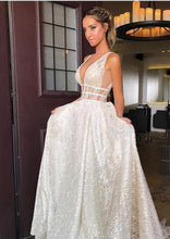 Sparkly Sexy Deep V Neck Wedding Dress with Straps A Line Backless Wedding Dress Sweep Train YSJ1992|annapromdress