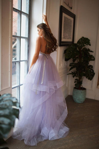 Chic V Neck Spaghetti Straps Lavender Ball Gown Wedding Dresses Backless Bridal Gown YSL1772|annapromdress