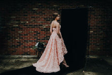 Romantic Sweetheart High Low Pink Flower Wedding Dress with Belt Rustic Wedding Gowns YSL1774|annapromdress