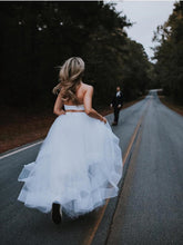 Ball Gown Two Piece Tulle Simple Wedding Dress Country Wedding Gowns Backless YSQ157|annapromdress
