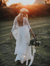 Ivory Lace Batwing Sleeve Rustic Wedding Dress Backless Sheath Bohemian Wedding Dress Beach YSQ6954|annapromdress