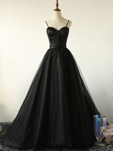 Ball Gown Spaghetti Straps Black Tulle Prom Dress Long Brush/Sweep Train Prom/Evening Dress YSR0713|annapromdress
