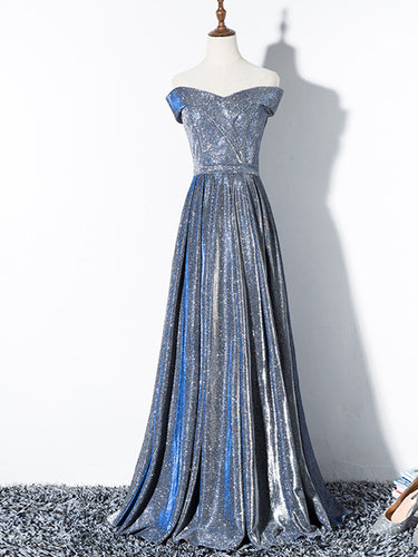 A Line Floor-Length Cap Sleeves Prom Dress Long Sparkly Prom Dress Evening Gown YSR0716|annapromdress