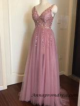 Modest Tulle Beaded V Neck Prom Dress A Line Floor Length Prom Evening Dress with Slit YSR1112|Annapromdress