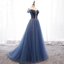 Modest Tulle A Line Long Prom Dresses Cap Sleeve Sweetheart Stunning Beading Prom/Evening Dress YSR339|annapromdress