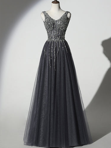 Stunning Beading Long Prom Dresses with Straps A Line Floor Length Black Prom/Evening Dress YSR442|annapromdress