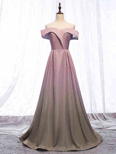 ALine Floor Length Long Prom Dress Cap Sleeve Sparkly Gradient Prom Party Gowns 2019 YSR662|annapromdress