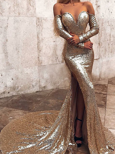 Sexy Deep V Neck Sequin Long Prom Dresses Chic Long Sleeve Gold Mermaid Prom/Evening Dress YST2901|annapromdress