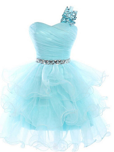 Blue A-line One Shoulder Mini Organza Homecoming Dress Short Prom Dresses SP8204