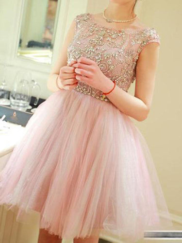 pink prom dresses,Pearl Pink A-line Scoop Short Mini Tulle Homecoming Dress SP8129