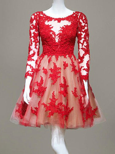 long sleeve prom dresses,Red A-line Scoop Short Mini Tulle Homecoming Dress SP8202