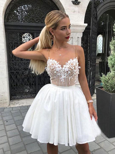 Spaghetti Straps V-neck Homecoming Dress Appliques A-line Short Prom Dress ZWP1901|Annapromdress