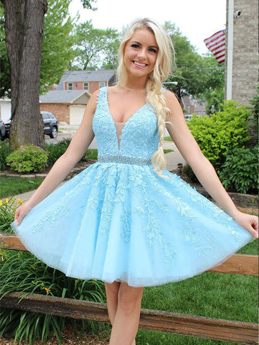 Blue Tulle Lace Appliques Short Prom Dress 2019 Open Back Homecoming Dress ZWP1902|Annapromdress