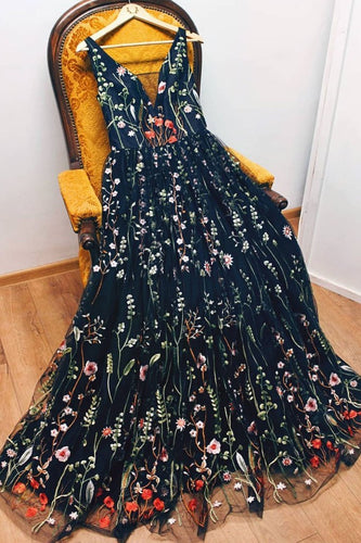 A-line V neck Black Boho Long  Formal Dresses Unique Floral Formal Evening Gowns JKG041