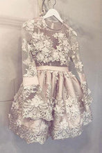 Cute Long Sleeve Homecoming Dress Hand-Made Flower Short Prom Dress Party Dress ANN289