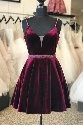 Burgundy Velvet Homecoming Dress Short Plunging V-neckline Cocktail Dress ANN5507