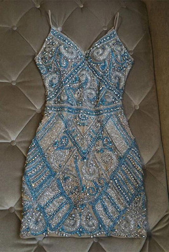 Gorgeous Sparkly V Neck Crystal Beaded Sheath Short Homecoming Dresses ANN1936