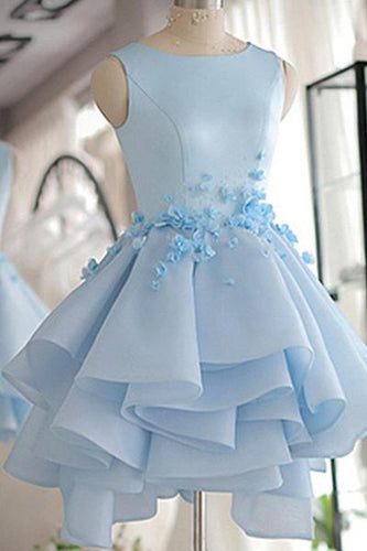 Sky Blue Homecoming Dress,A-line Satin Organza Short Flowers Original Prom Dresses,Mini Dress AN147