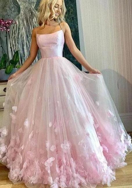 Light Pink Spaghetti Straps Long Prom Dresses, 3D Flowers Evening Dresses JKN4101|Annapromdress
