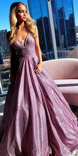 A-Line V neck Spaghetti Straps Sparkly Prom Dress Formal Evening Gowns JKL1300