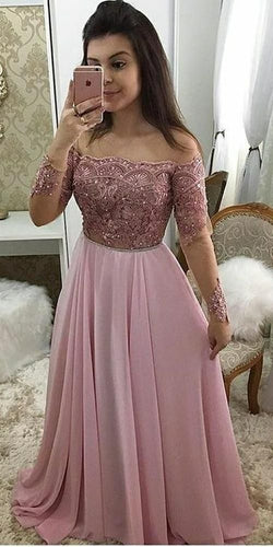 Off Shoulder Full Sleeves Long Prom Dress 2020 Custom Made Beaded Pink Burgundy Evening Party Dress JKL6666