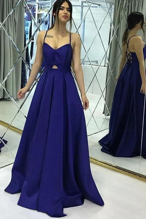 A-line Royal Blue Satin Sweetheart Long Simple Prom Dress JKS6736