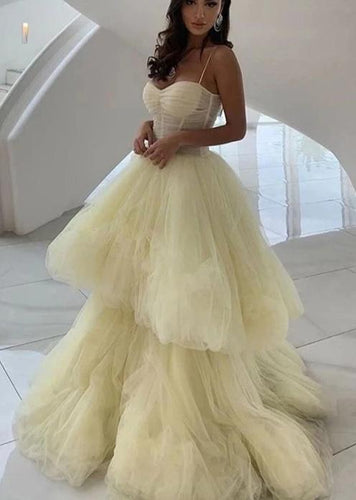 Yellow Tulle Sweetheart A-Line Long Prom Dress JKS6734